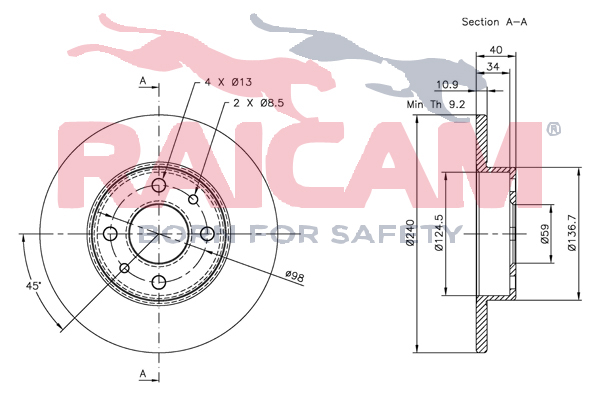 Disque de frein arriere RAICAM RD01047 (Jeu de 2)