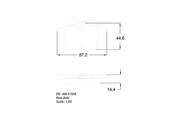 Plaquettes de frein arriere AKEBONO AN-4191KE (X1)