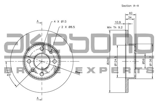 Disque de frein AKEBONO BN-0033 (X1)