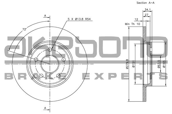 Disque de frein AKEBONO BN-0188 (X1)