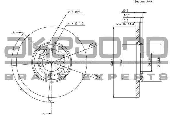Disque de frein AKEBONO BN-1139E (X1)