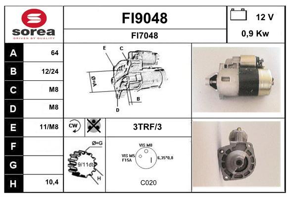 Demarreur SNRA FI9048 (X1)