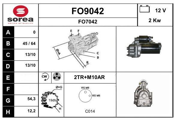 Demarreur SNRA FO9042 (X1)