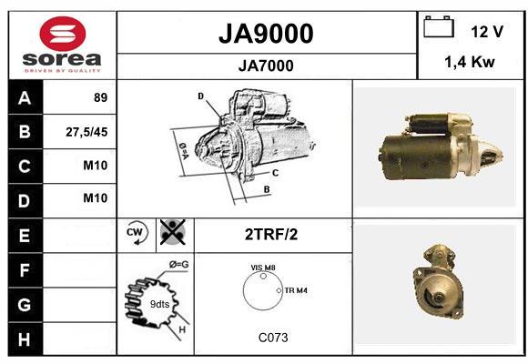 Demarreur SNRA JA9000 (X1)