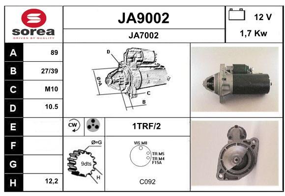 Demarreur SNRA JA9002 (X1)