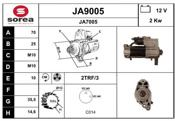 Demarreur SNRA JA9005 (X1)