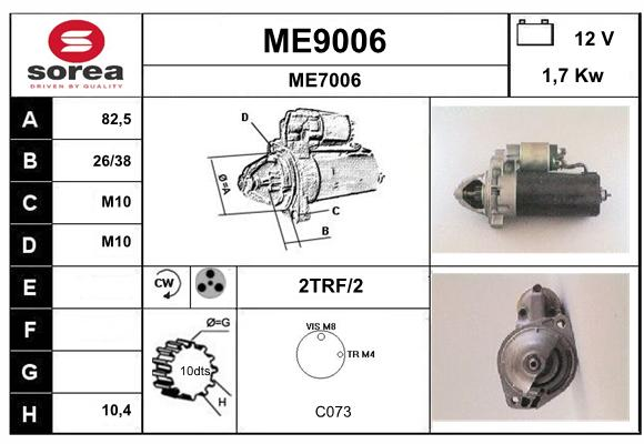 Demarreur SNRA ME9006 (X1)