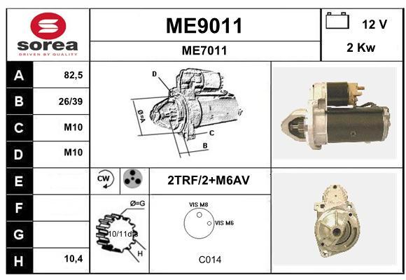 Demarreur SNRA ME9011 (X1)