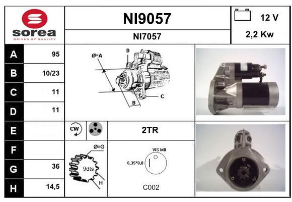 Demarreur SNRA NI9057 (X1)