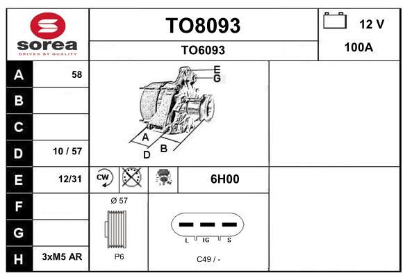 Alternateur SNRA TO8093 (X1)