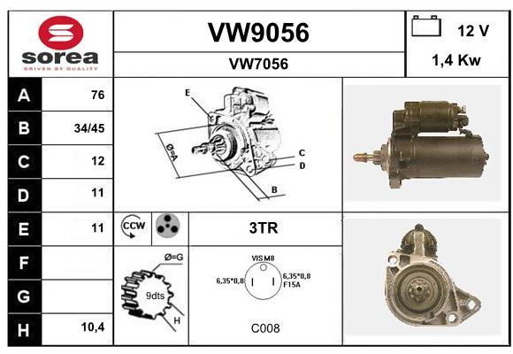 Demarreur SNRA VW9056 (X1)