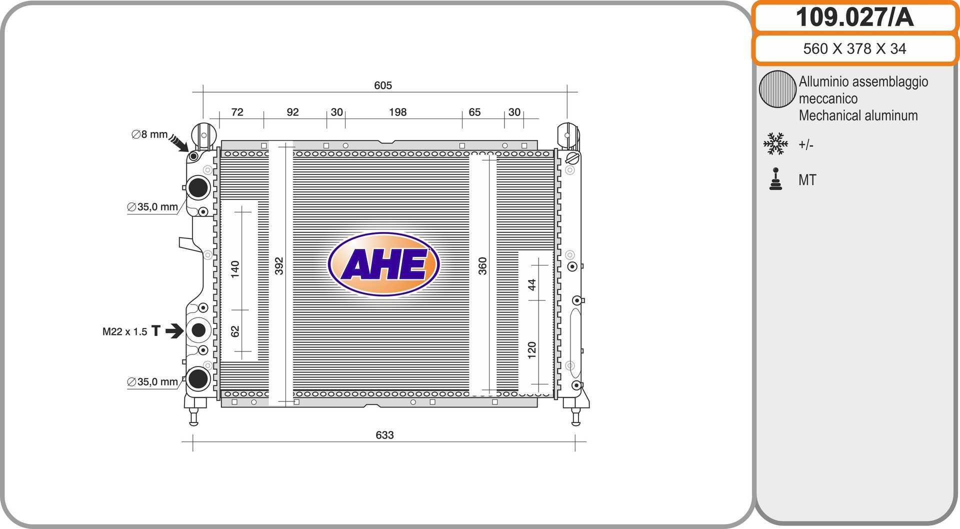 Radiateur de refroidissement AHE 109.027/A (X1)