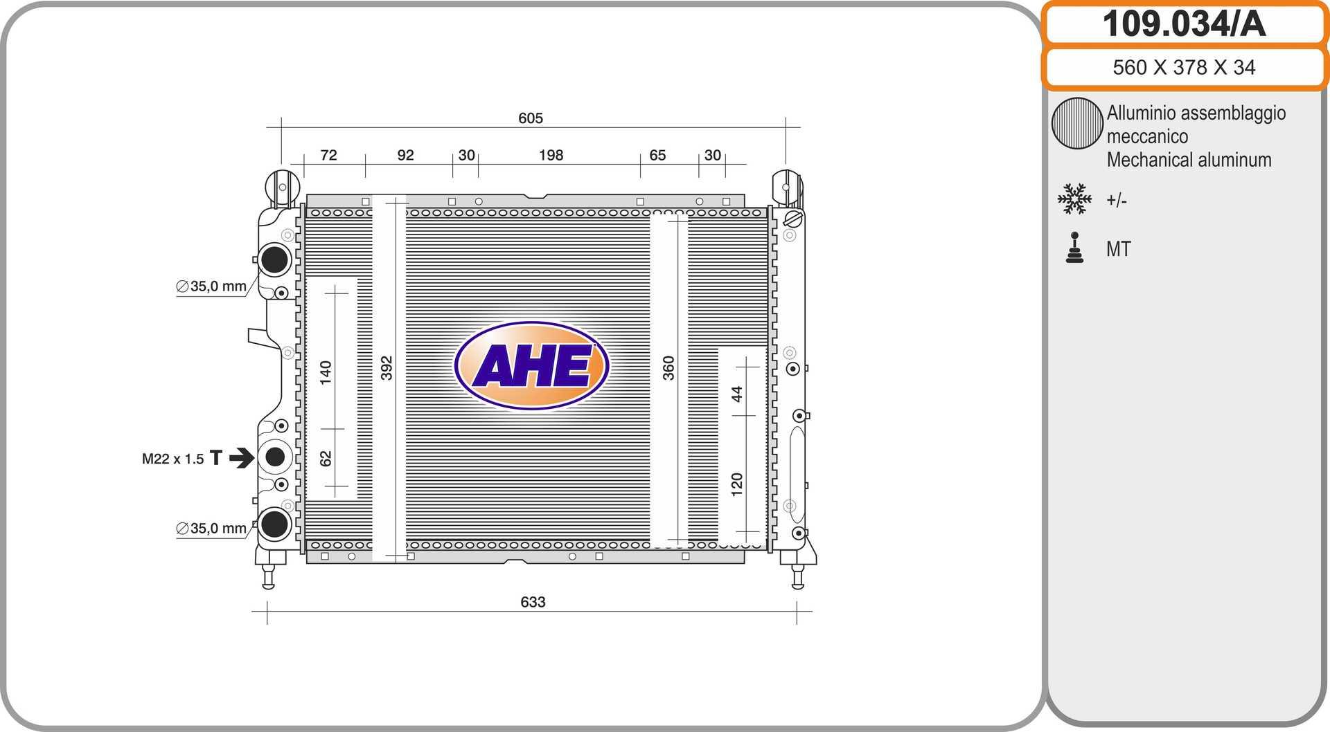 Radiateur de refroidissement AHE 109.034/A (X1)