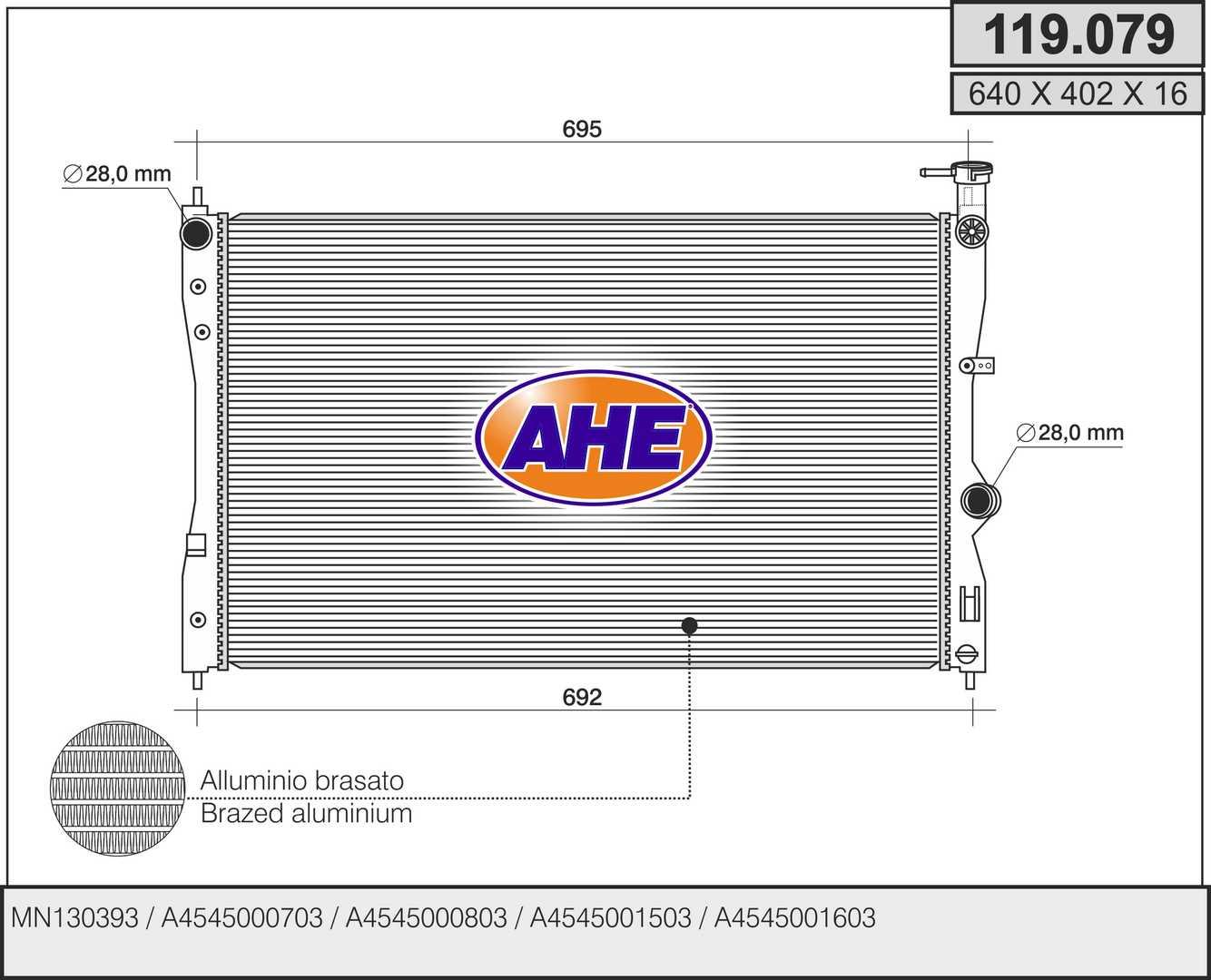 Radiateur de refroidissement AHE 119.079 (X1)