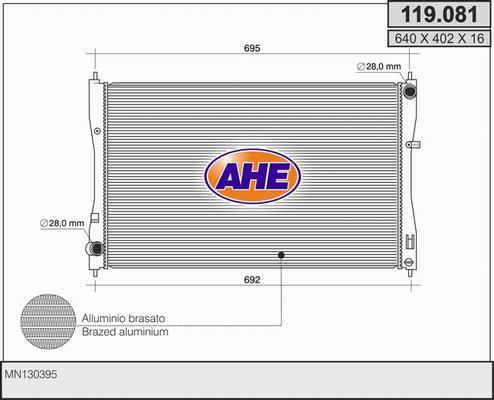 Radiateur de refroidissement AHE 119.081 (X1)