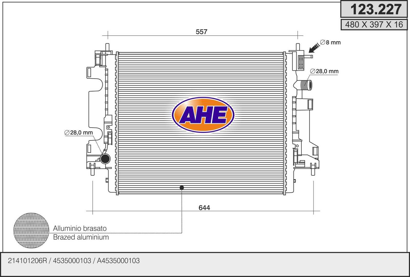 Radiateur de refroidissement AHE 123.227 (X1)