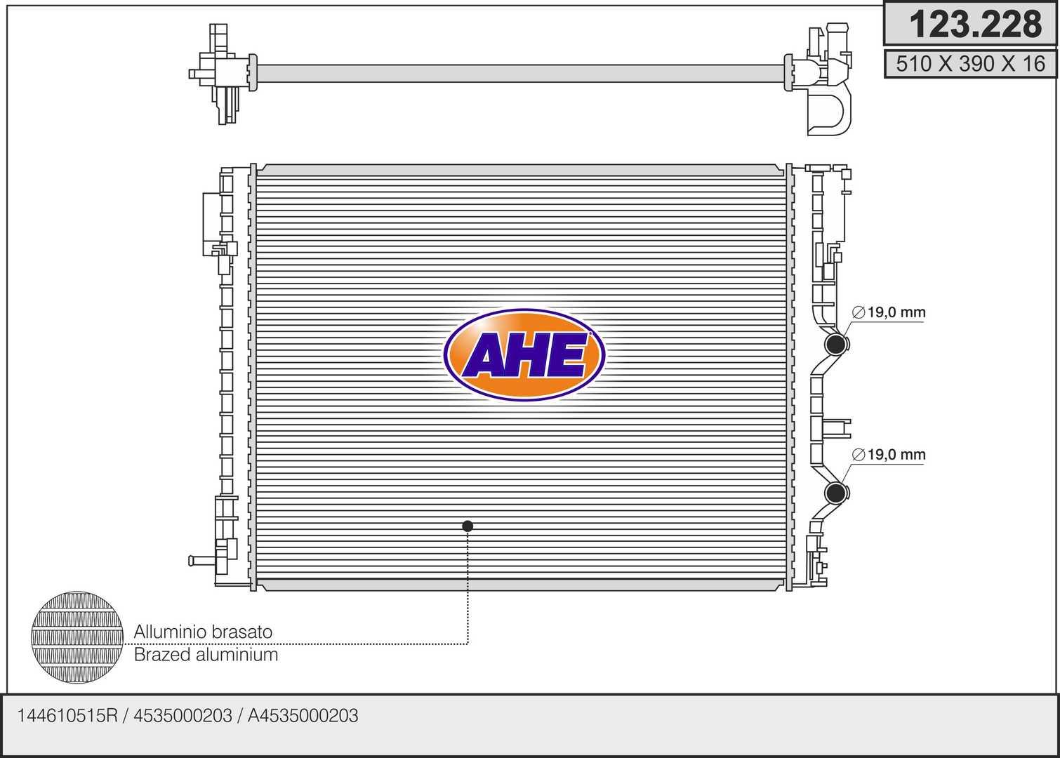 Radiateur de refroidissement AHE 123.228 (X1)
