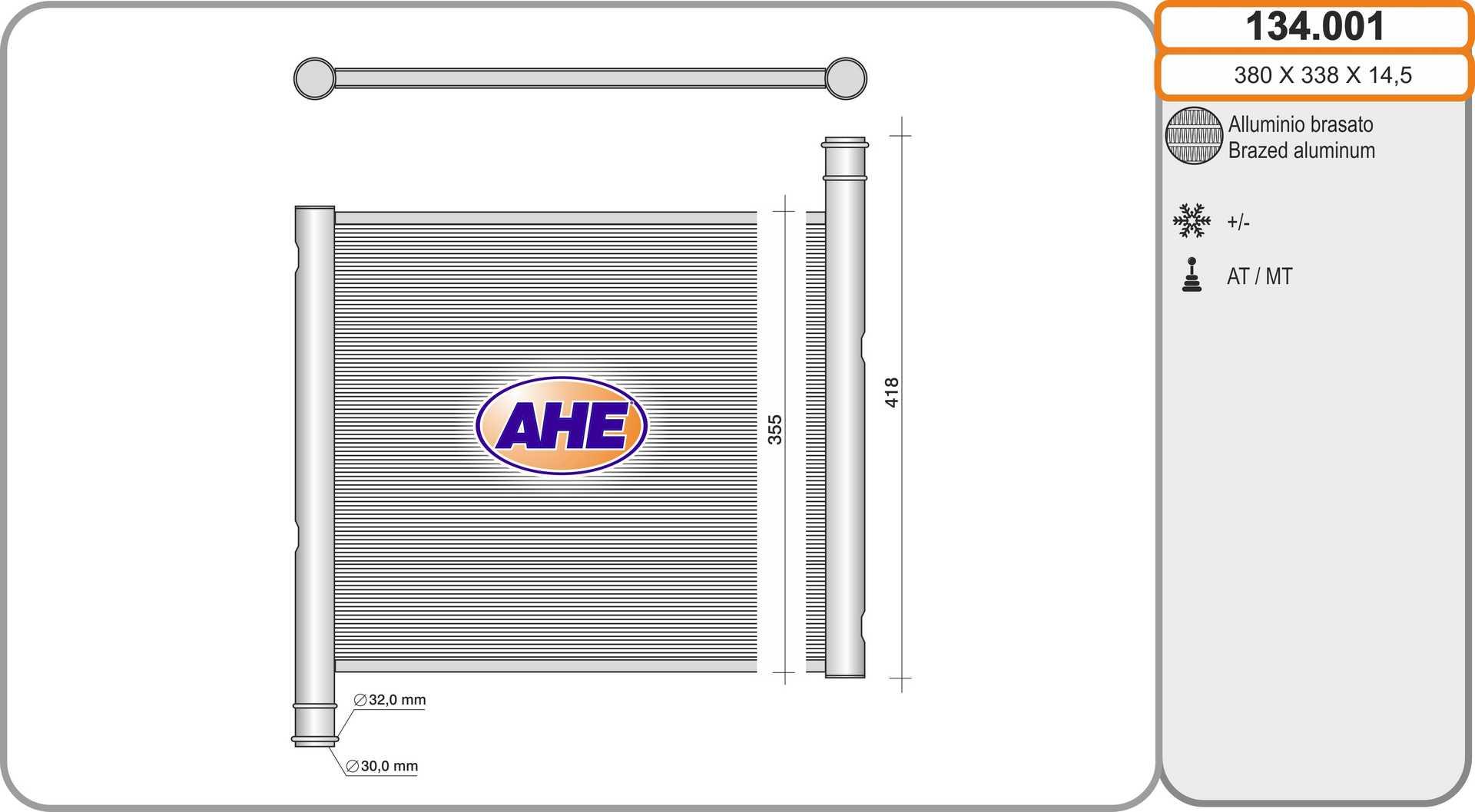 Radiateur de refroidissement AHE 134.001 (X1)