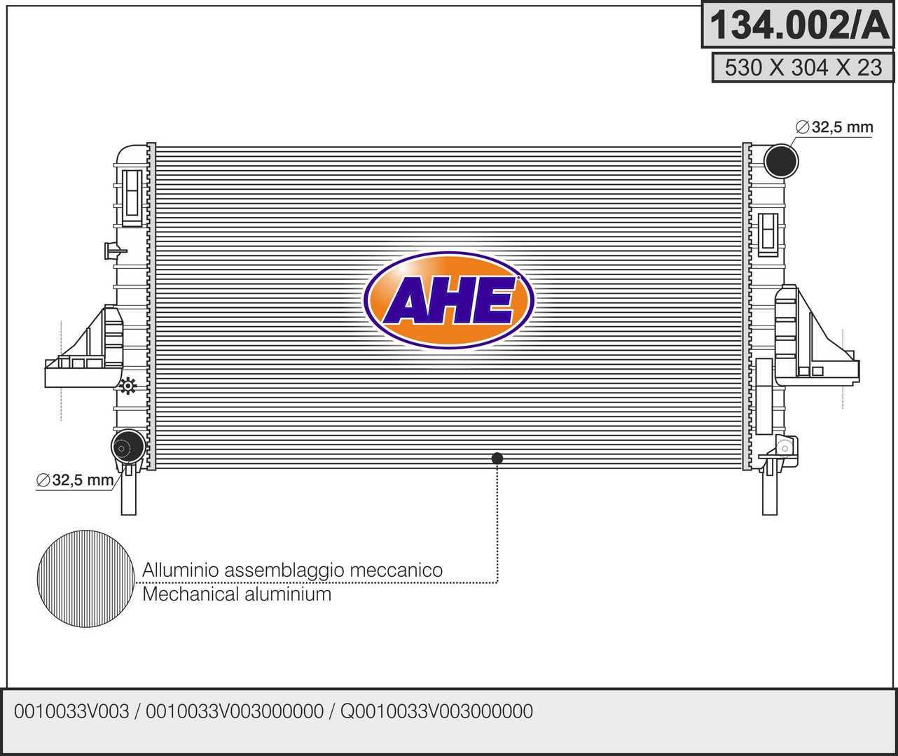 Radiateur de refroidissement AHE 134.002/A (X1)