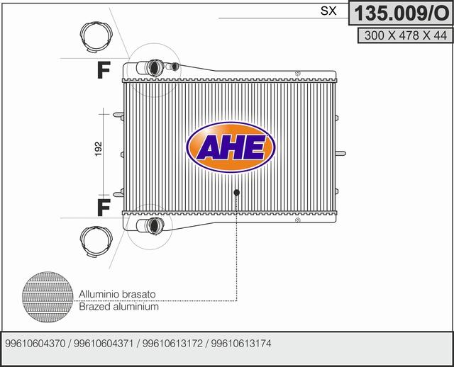 Radiateur de refroidissement AHE 135.009/O (X1)