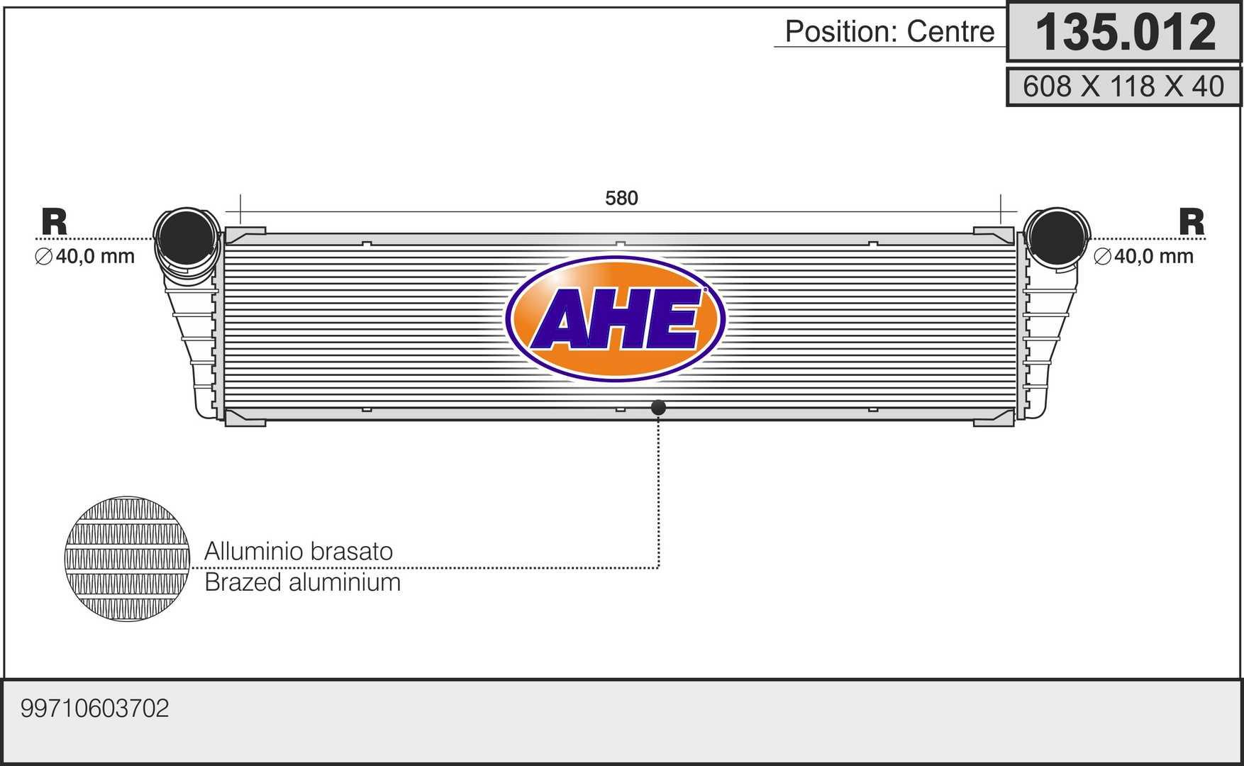 Radiateur de refroidissement AHE 135.012 (X1)