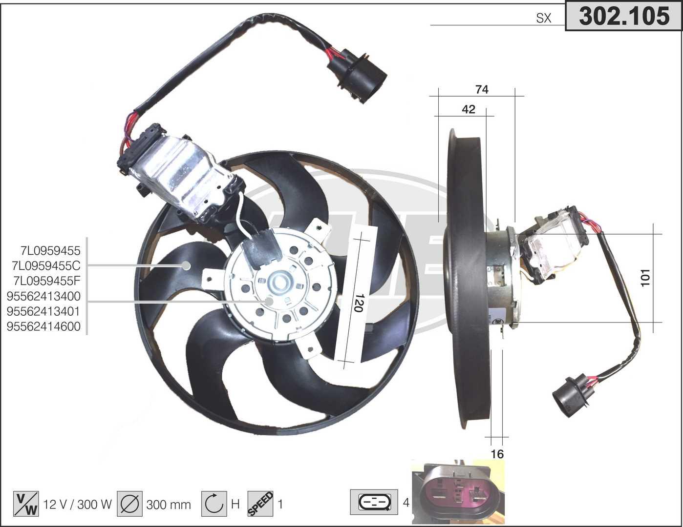 Ventilateur de radiateur AHE 302.105 (X1)