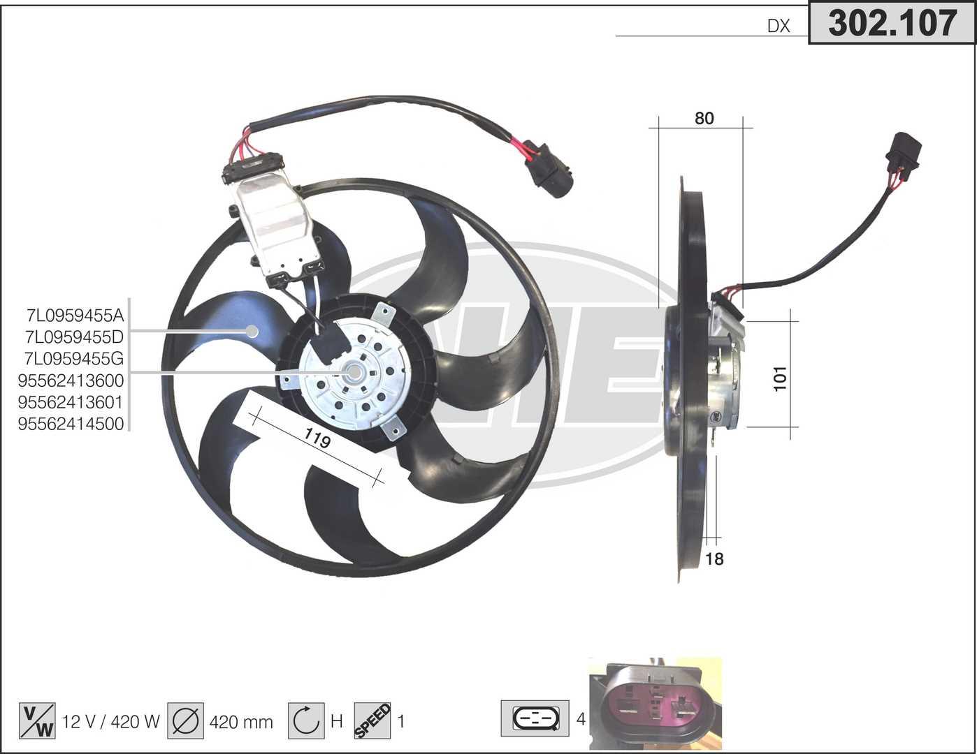 Ventilateur de radiateur AHE 302.107 (X1)