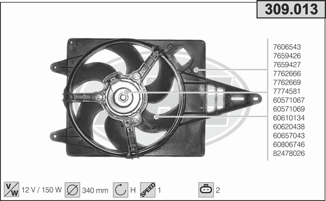Ventilateur de radiateur AHE 309.013 (X1)