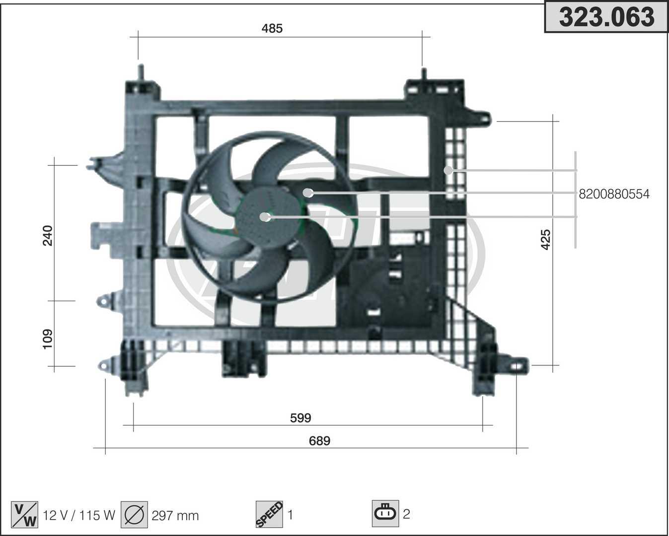 Ventilateur de radiateur AHE 323.063 (X1)