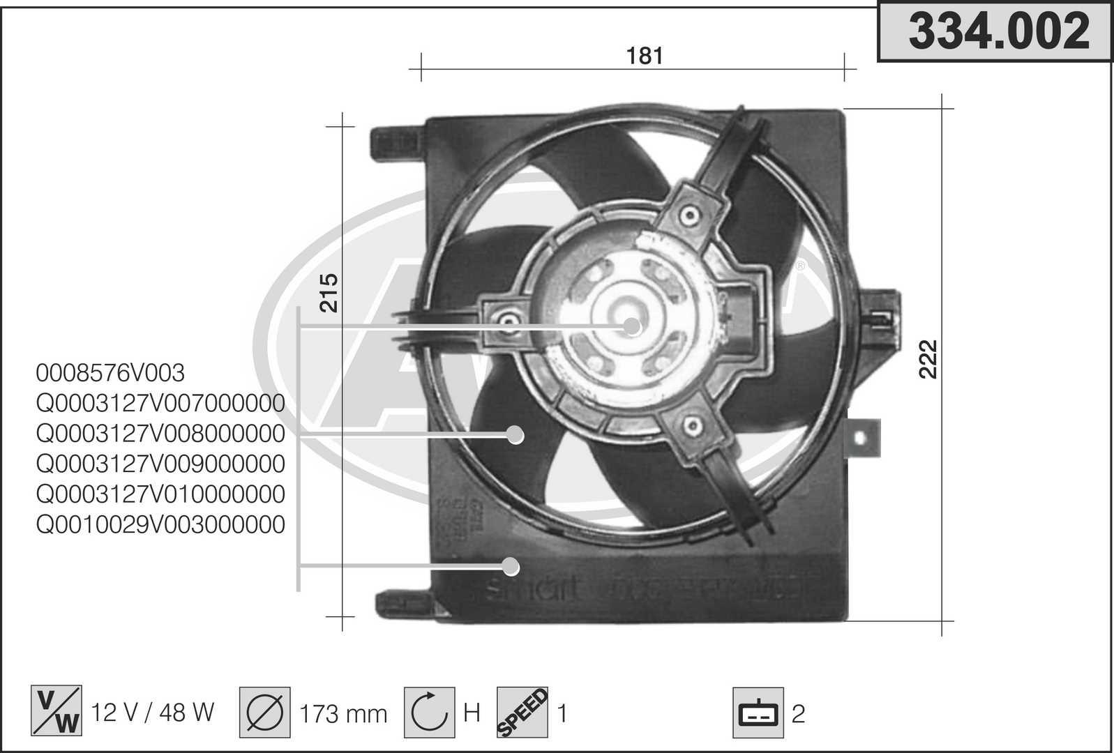 Ventilateur de radiateur AHE 334.002 (X1)