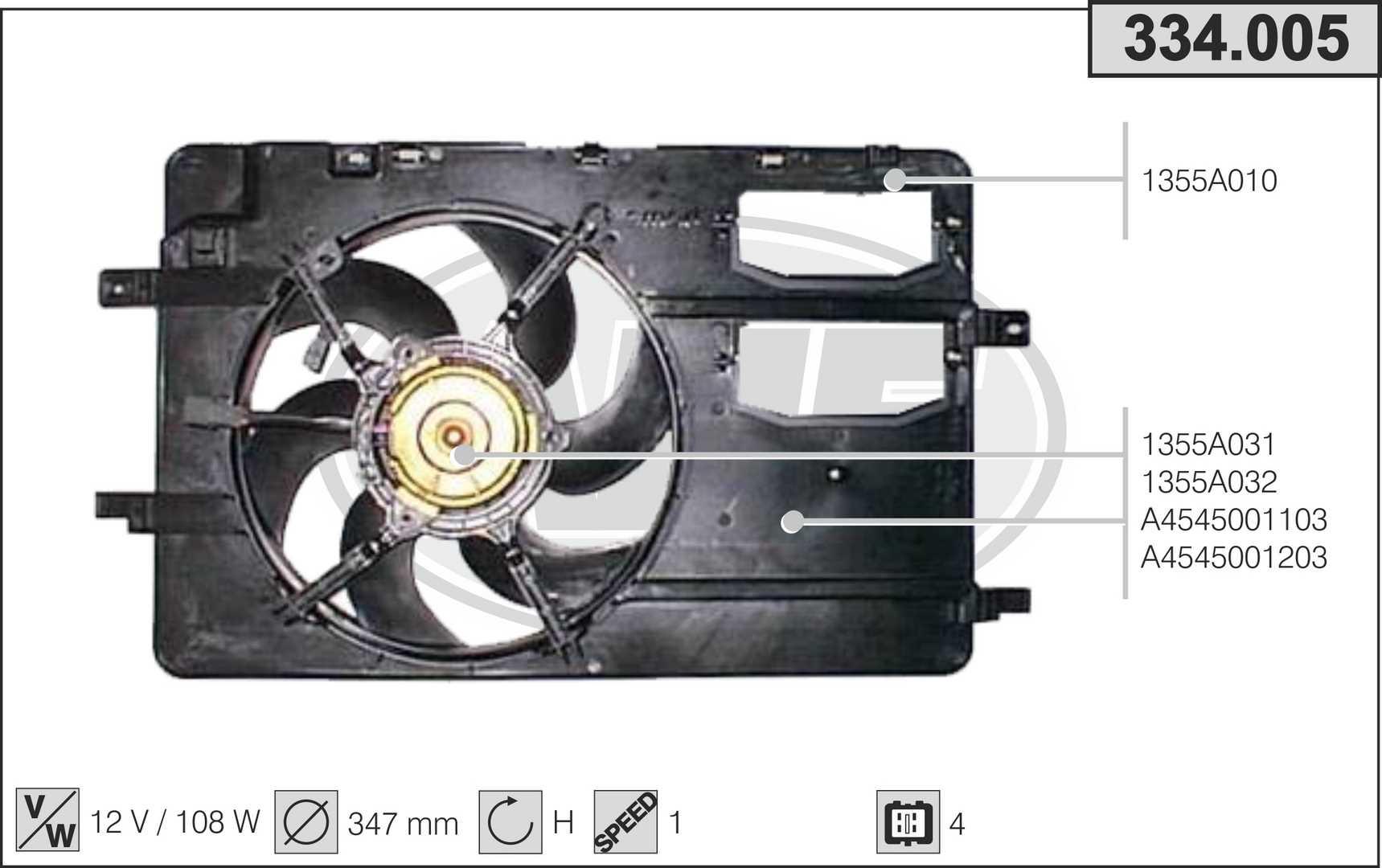 Ventilateur de radiateur AHE 334.005 (X1)