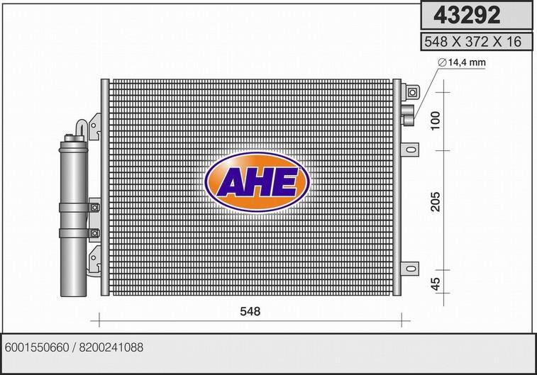 Condenseur / Radiateur de climatisation AHE 43292 (X1)