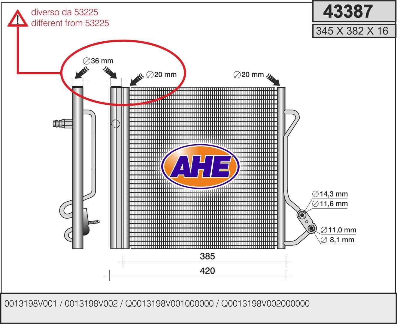 Condenseur / Radiateur de climatisation AHE 43387 (X1)