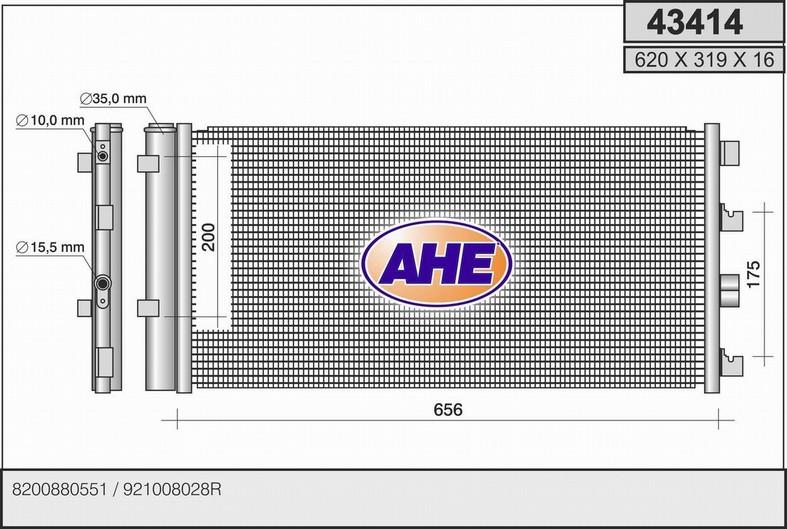 Condenseur / Radiateur de climatisation AHE 43414 (X1)