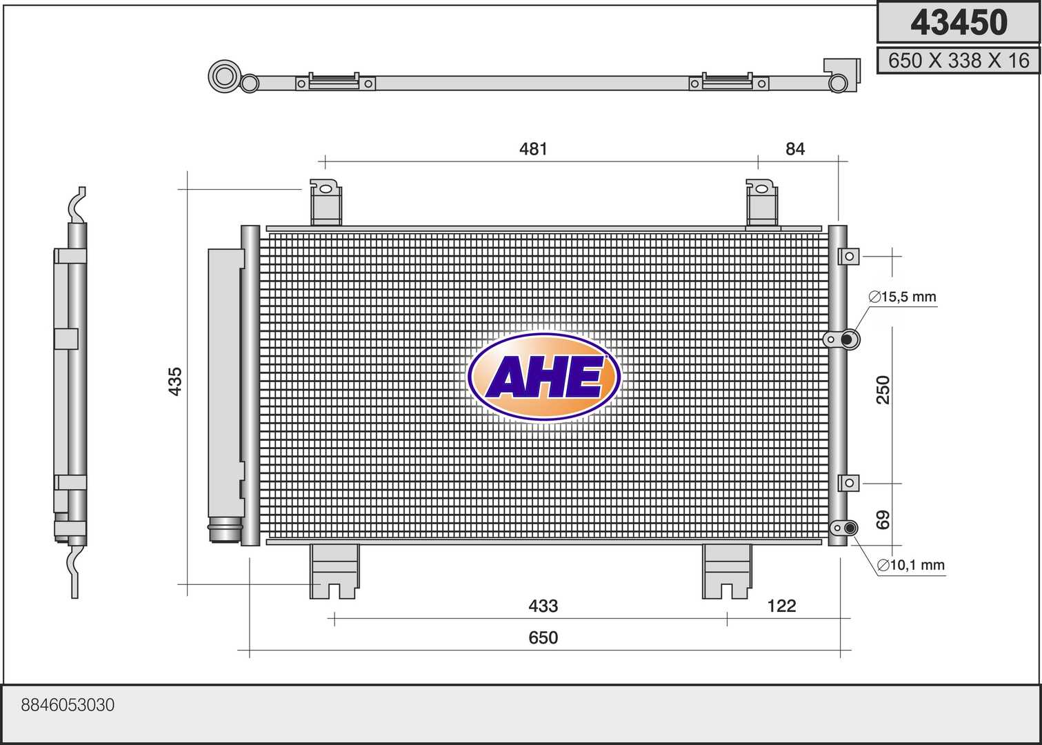 Condenseur / Radiateur de climatisation AHE 43450 (X1)