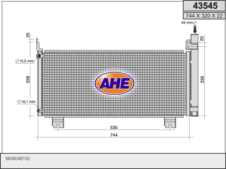 Condenseur / Radiateur de climatisation AHE 43545 (X1)