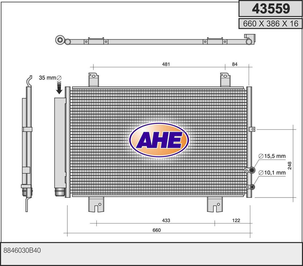 Condenseur / Radiateur de climatisation AHE 43559 (X1)
