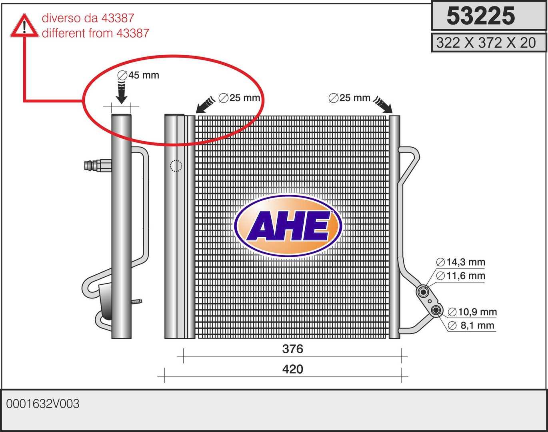 Condenseur / Radiateur de climatisation AHE 53225 (X1)