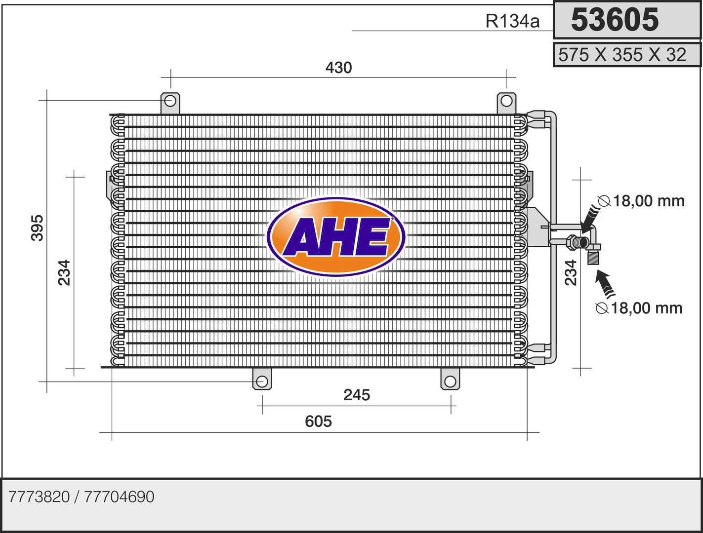 Condenseur / Radiateur de climatisation AHE 53605 (X1)