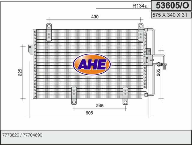 Condenseur / Radiateur de climatisation AHE 53605/O (X1)