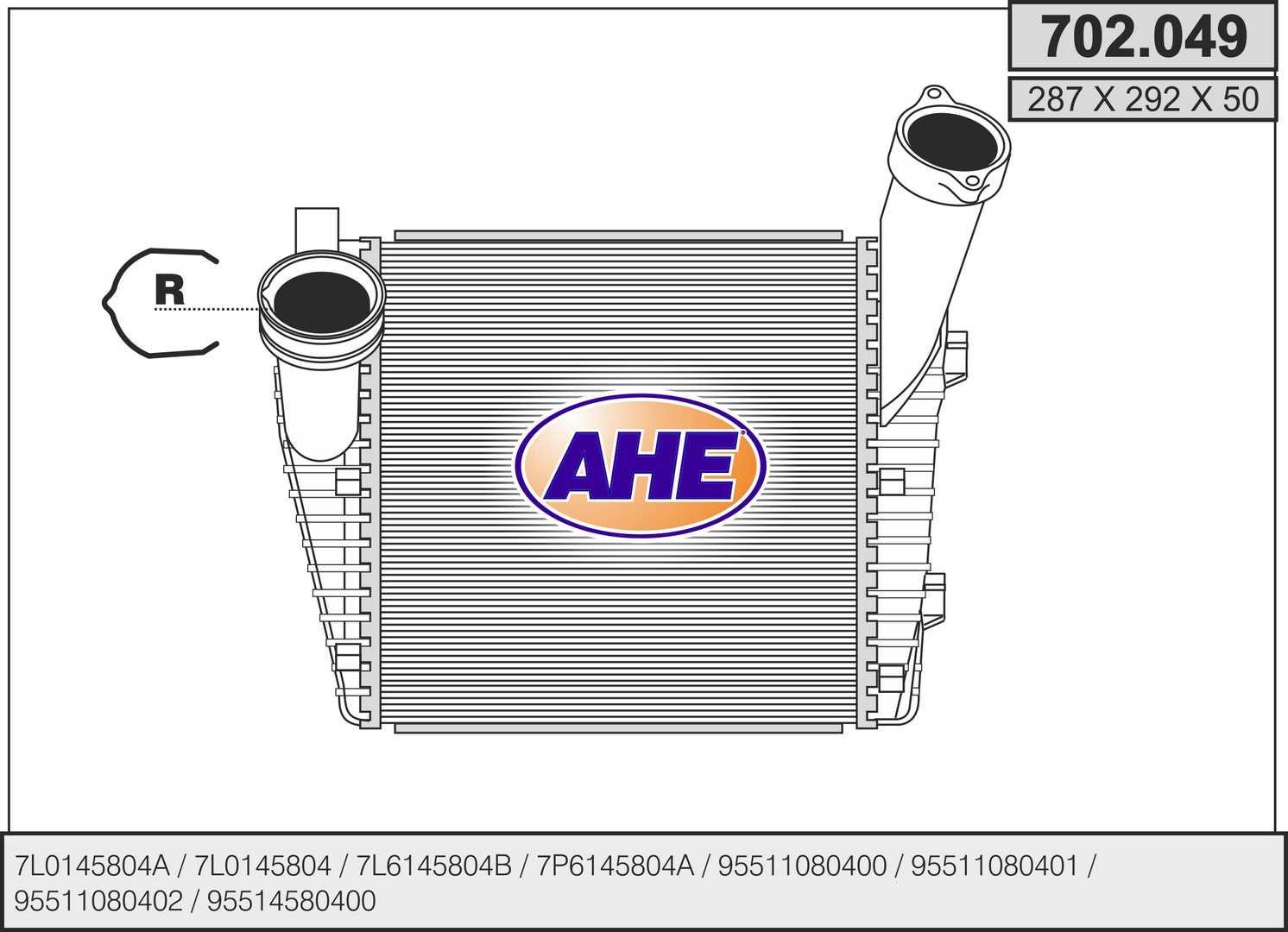 Intercooler radiateur de turbo AHE 702.049 (X1)