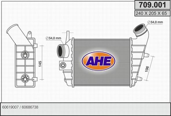 Intercooler radiateur de turbo AHE 709.001 (X1)