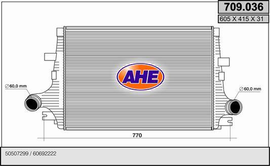 Intercooler radiateur de turbo AHE 709.036 (X1)