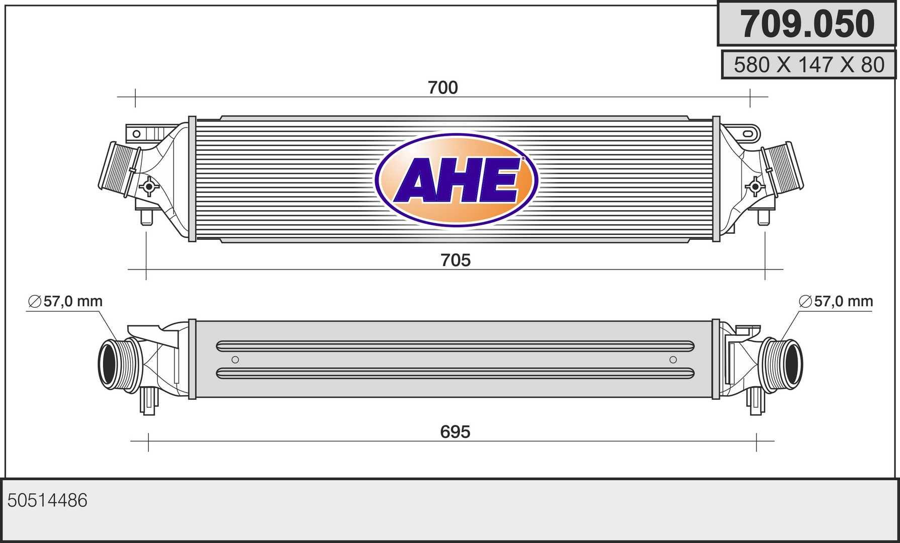 Intercooler radiateur de turbo AHE 709.050 (X1)