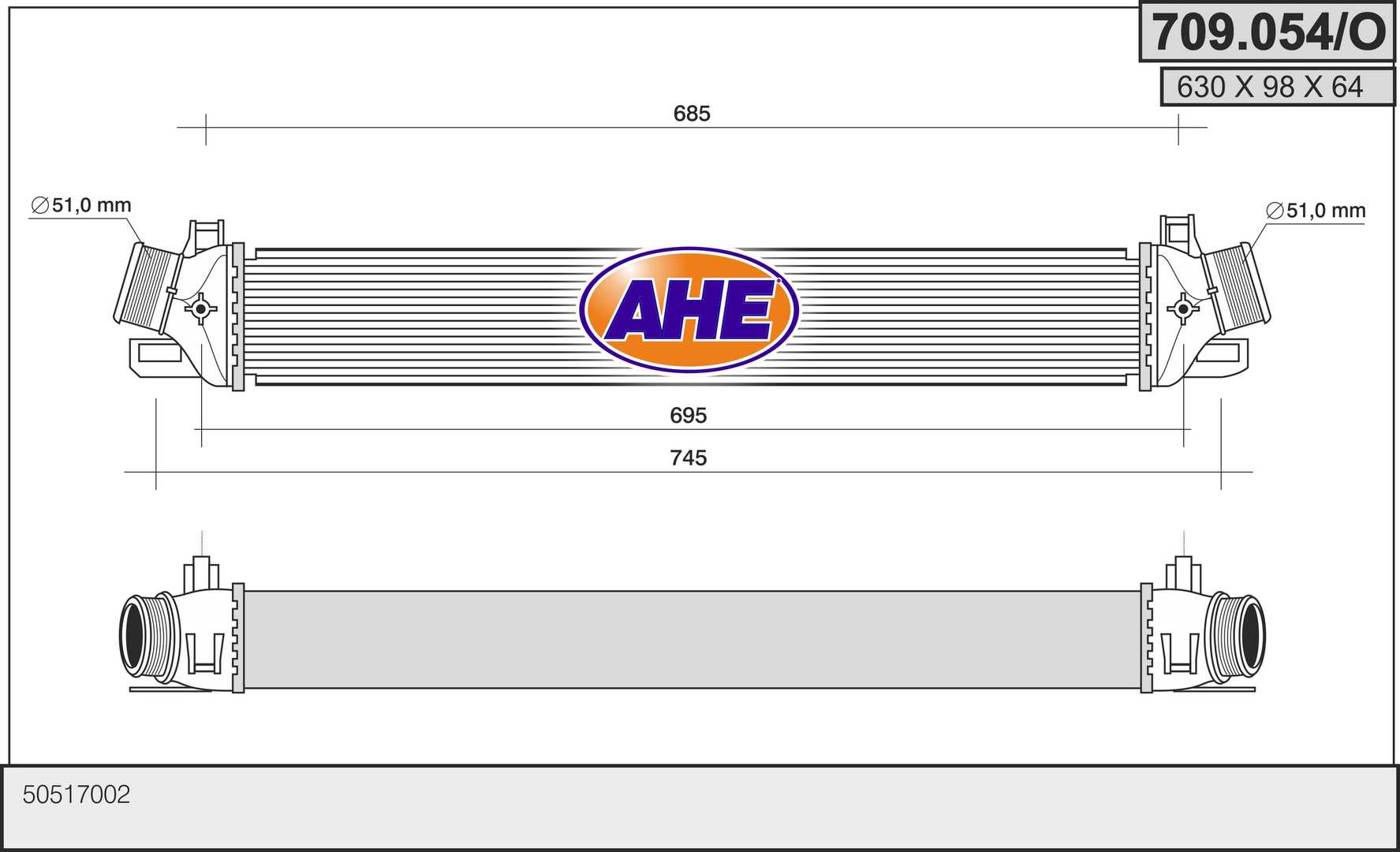 Intercooler radiateur de turbo AHE 709.054/O (X1)