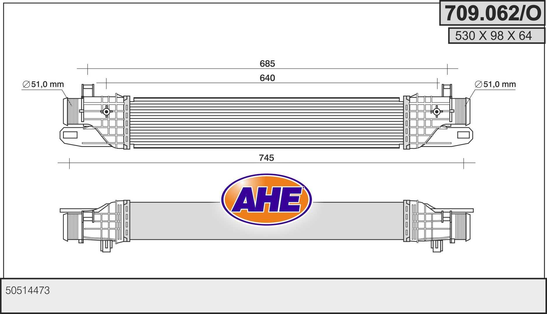 Intercooler radiateur de turbo AHE 709.062/O (X1)