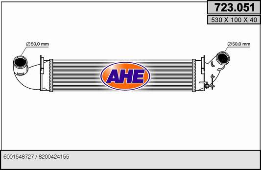 Intercooler radiateur de turbo AHE 723.051 (X1)