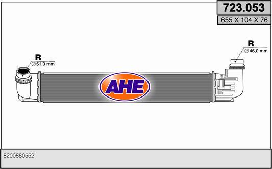 Intercooler radiateur de turbo AHE 723.053 (X1)