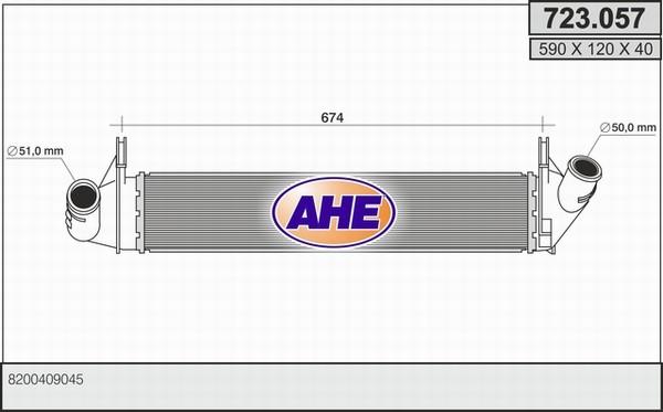 Intercooler radiateur de turbo AHE 723.057 (X1)