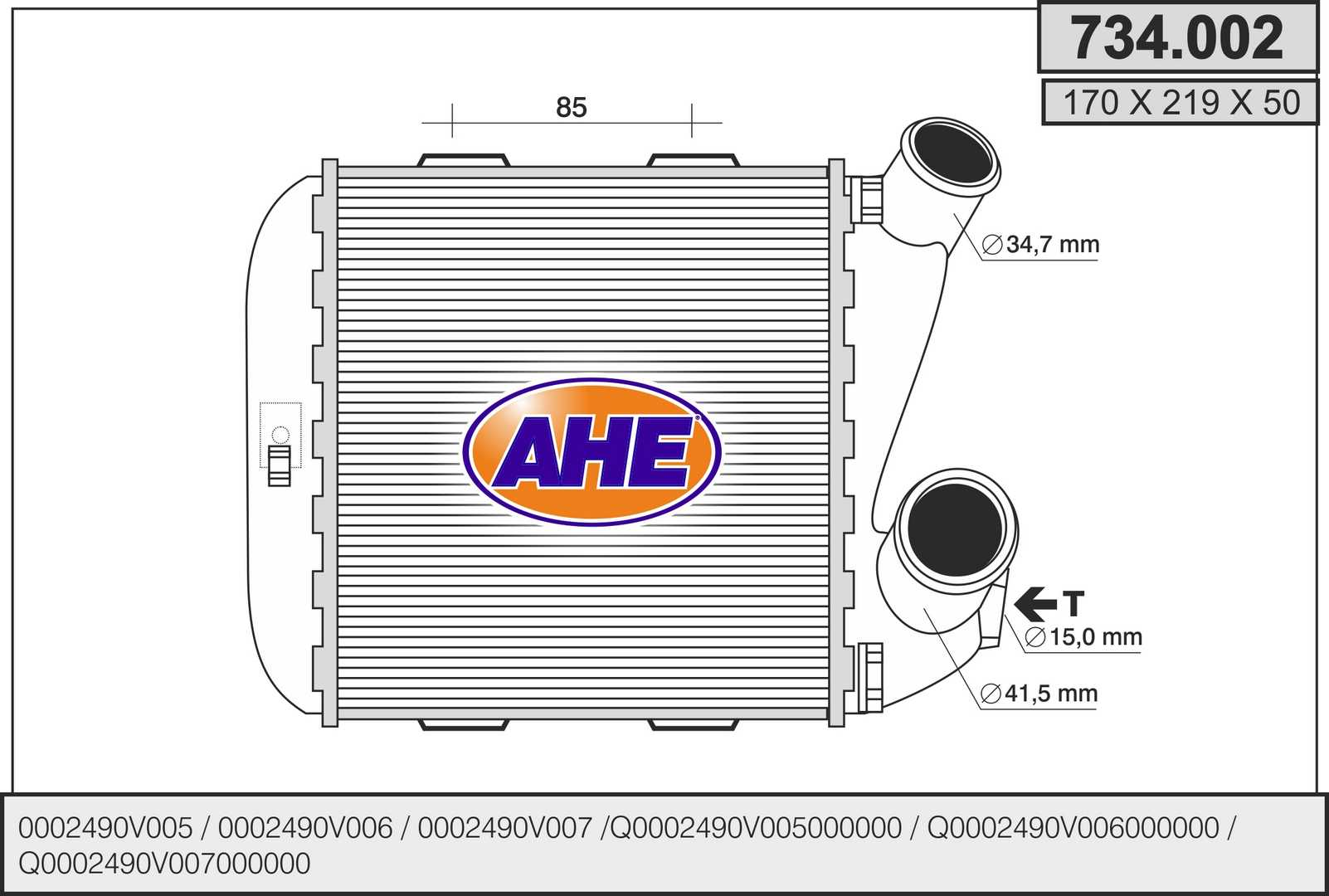Intercooler radiateur de turbo AHE 734.002 (X1)